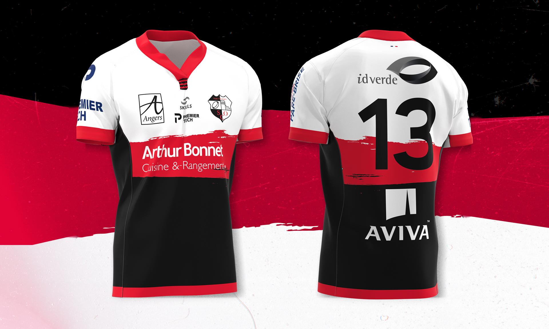 Maillots du SCO Rugby Angers pour la saison 2020 - 2021.